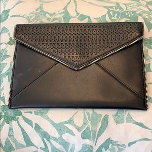 Rebecca Minkoff Black Leather Envelope Clutch